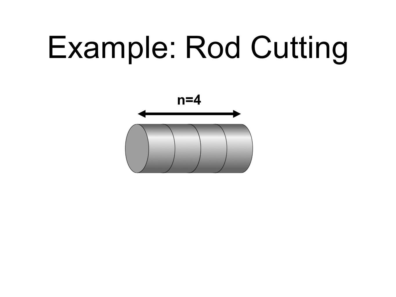 Example: Rod Cutting length iprice p i 1$1 2$5 3$8 4 $9 $10 5$10 6$17 7 8$20 9$24 10$30 Maximum Revenue, r 4 .
