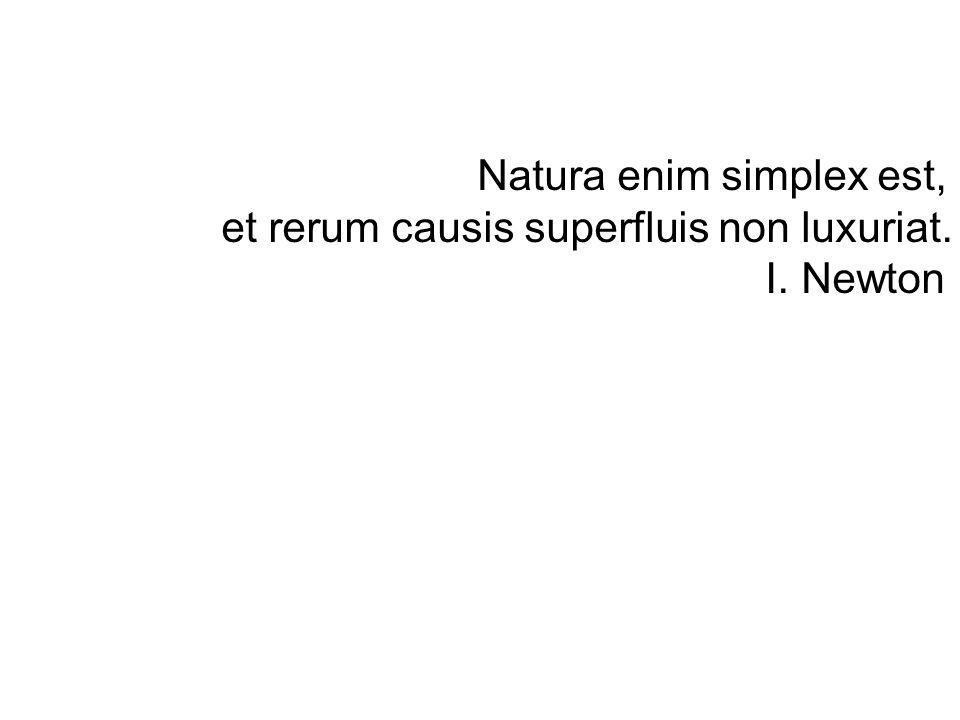 Natura enim simplex est, et rerum causis superfluis non luxuriat. I. Newton