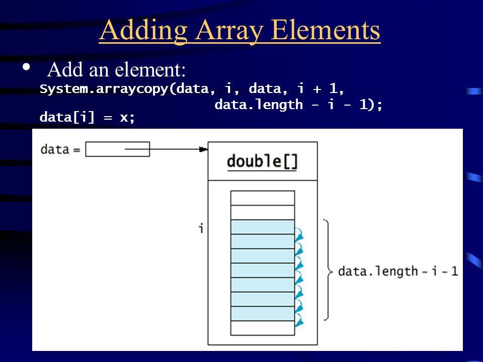 Adding Array Elements Add an element: System.arraycopy(data, i, data, i + 1, data.length - i - 1); data[i] = x;