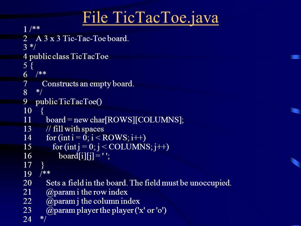 File TicTacToe.java 1 /** 2 A 3 x 3 Tic-Tac-Toe board.