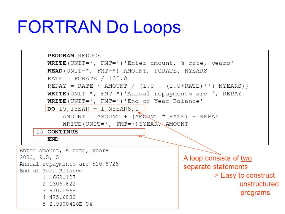 FORTRAN Do Loops PROGRAM REDUCE WRITE(UNIT=*, FMT=*) Enter amount, % rate, years READ(UNIT=*, FMT=*) AMOUNT, PCRATE, NYEARS RATE = PCRATE / 100.0 REPAY = RATE * AMOUNT / (1.0 - (1.0+RATE)**(-NYEARS)) WRITE(UNIT=*, FMT=*) Annual repayments are , REPAY WRITE(UNIT=*, FMT=*) End of Year Balance DO 15,IYEAR = 1,NYEARS,1 AMOUNT = AMOUNT + (AMOUNT * RATE) - REPAY WRITE(UNIT=*, FMT=*)IYEAR, AMOUNT 15 CONTINUE END A loop consists of two separate statements -> Easy to construct unstructured programs Enter amount, % rate, years 2000, 9.5, 5 Annual repayments are 520.8728 End of Year Balance 1 1669.127 2 1306.822 3 910.0968 4 475.6832 5 2.9800416E-04