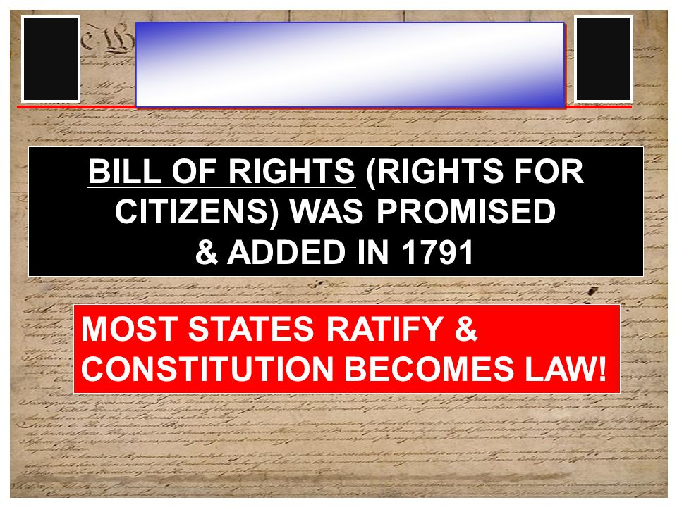 ANTI-FEDERALISTS: DID NOT SUPPORT THE CONSTITUTION NO BILL OF RIGHTS – FED GOV'T TOO POWERFUL.