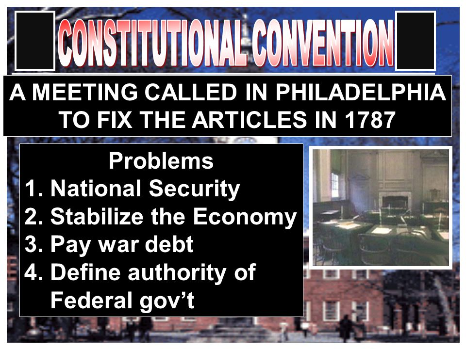 A MEETING CALLED IN PHILADELPHIA TO FIX THE ARTICLES IN 1787 Problems 1.
