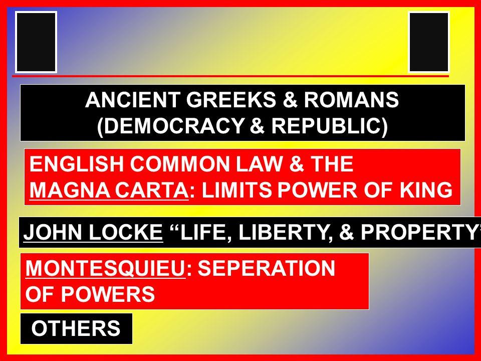 ENGLISH COMMON LAW & THE MAGNA CARTA: LIMITS POWER OF KING JOHN LOCKE LIFE, LIBERTY, & PROPERTY MONTESQUIEU: SEPERATION OF POWERS ANCIENT GREEKS & ROMANS (DEMOCRACY & REPUBLIC) OTHERS