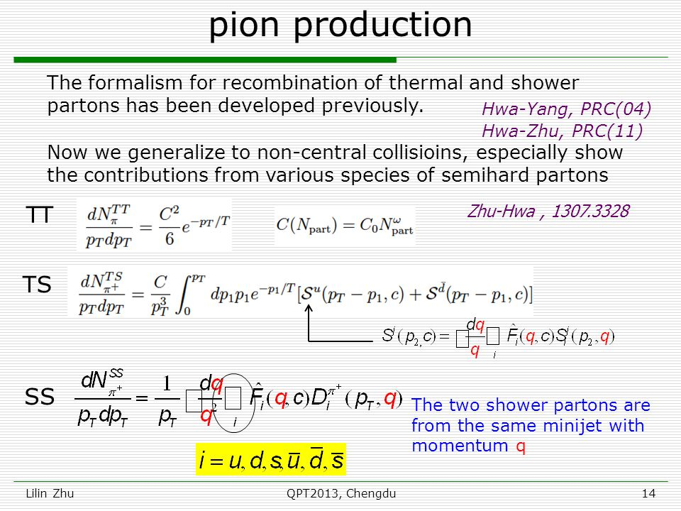 pion production Lilin ZhuQPT2013, Chengdu14 The formalism for recombination of thermal and shower partons has been developed previously.