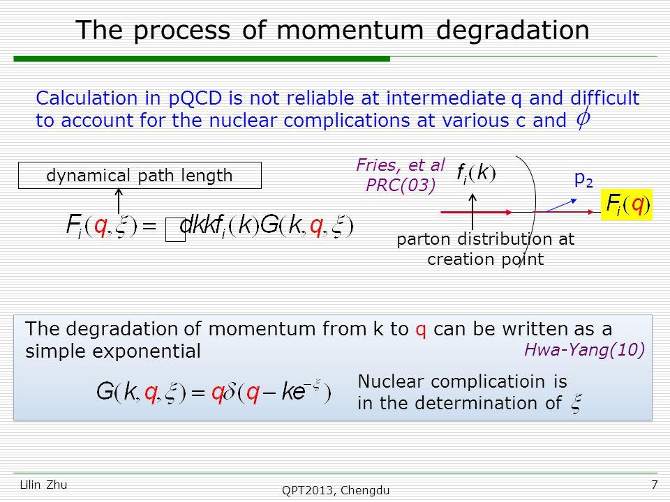 proton Lilin ZhuQPT2013, Chengdu18 It is our prediction for proton p T >5 for c > 20%.