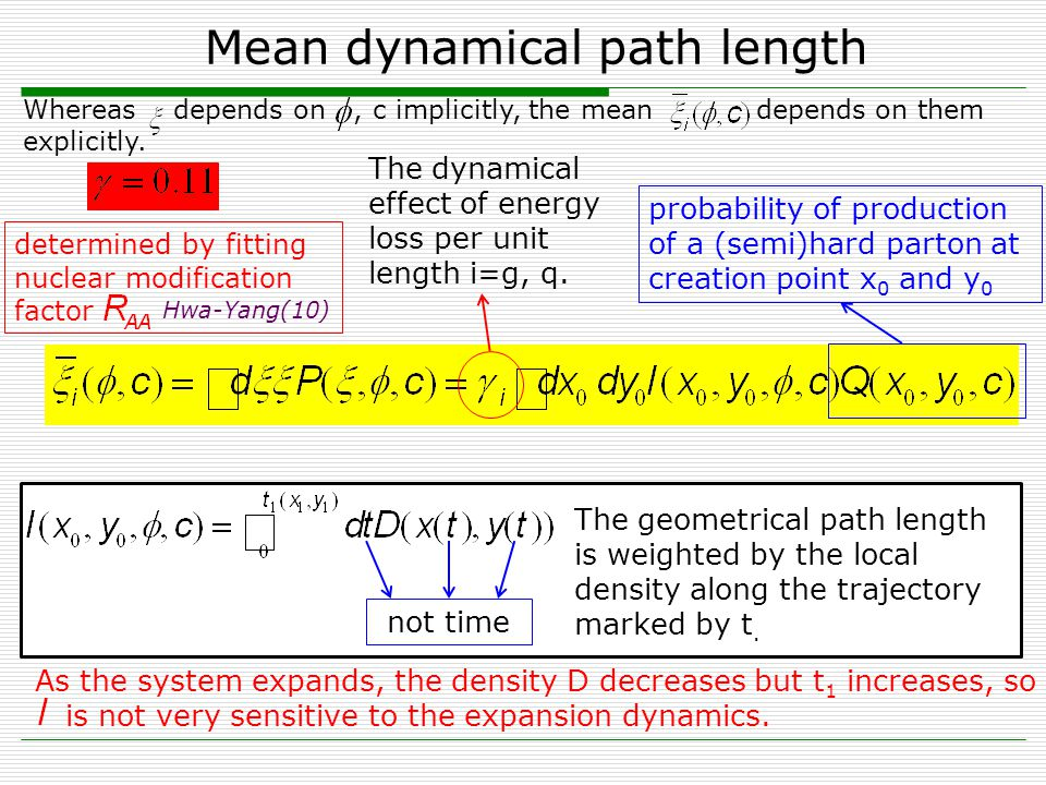 Mean dynamical path length Lilin ZhuQPT2013, Chengdu9 As the system expands, the density D decreases but t 1 increases, so is not very sensitive to the expansion dynamics.