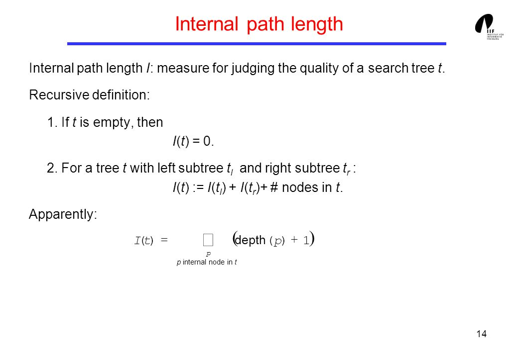 14 Internal path length Internal path length I: measure for judging the quality of a search tree t.