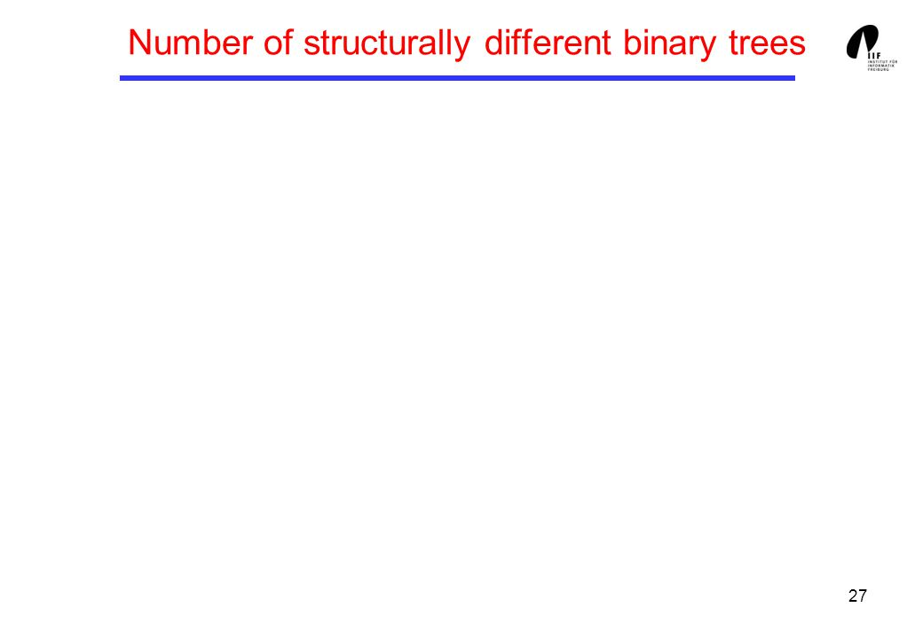 27 Number of structurally different binary trees