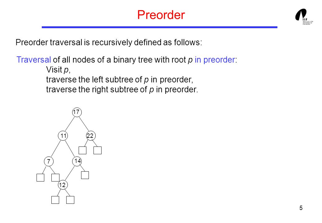 5 Preorder Preorder traversal is recursively defined as follows: Traversal of all nodes of a binary tree with root p in preorder: Visit p, traverse the left subtree of p in preorder, traverse the right subtree of p in preorder.