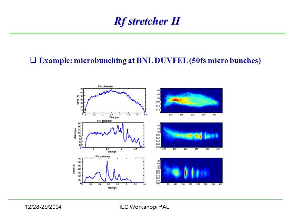 12/28-29/2004ILC Workshop/ PAL Rf stretcher II  Example: microbunching at BNL DUVFEL (50fs micro bunches)