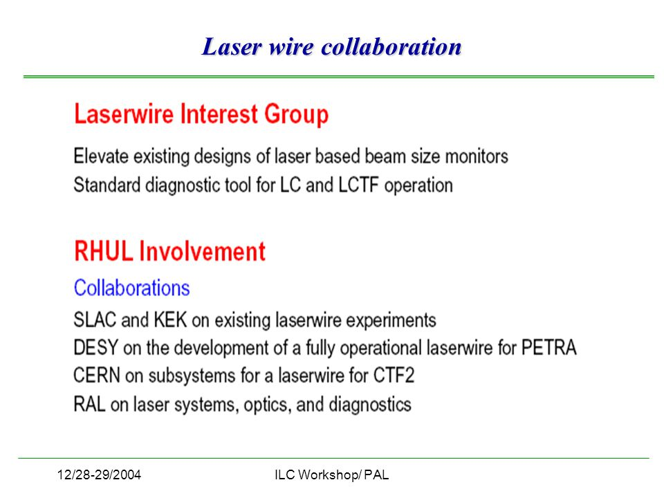 12/28-29/2004ILC Workshop/ PAL Laser wire collaboration