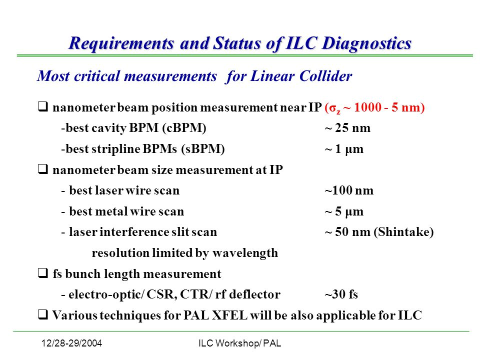 12/28-29/2004ILC Workshop/ PAL Most critical measurements for Linear Collider  nanometer beam position measurement near IP (σ z ~ 1000 - 5 nm) -best cavity BPM (cBPM) ~ 25 nm -best stripline BPMs (sBPM)~ 1 μm  nanometer beam size measurement at IP - best laser wire scan ~100 nm - best metal wire scan ~ 5 μm - laser interference slit scan ~ 50 nm (Shintake) resolution limited by wavelength  fs bunch length measurement - electro-optic/ CSR, CTR/ rf deflector ~30 fs  Various techniques for PAL XFEL will be also applicable for ILC Requirements and Status of ILC Diagnostics
