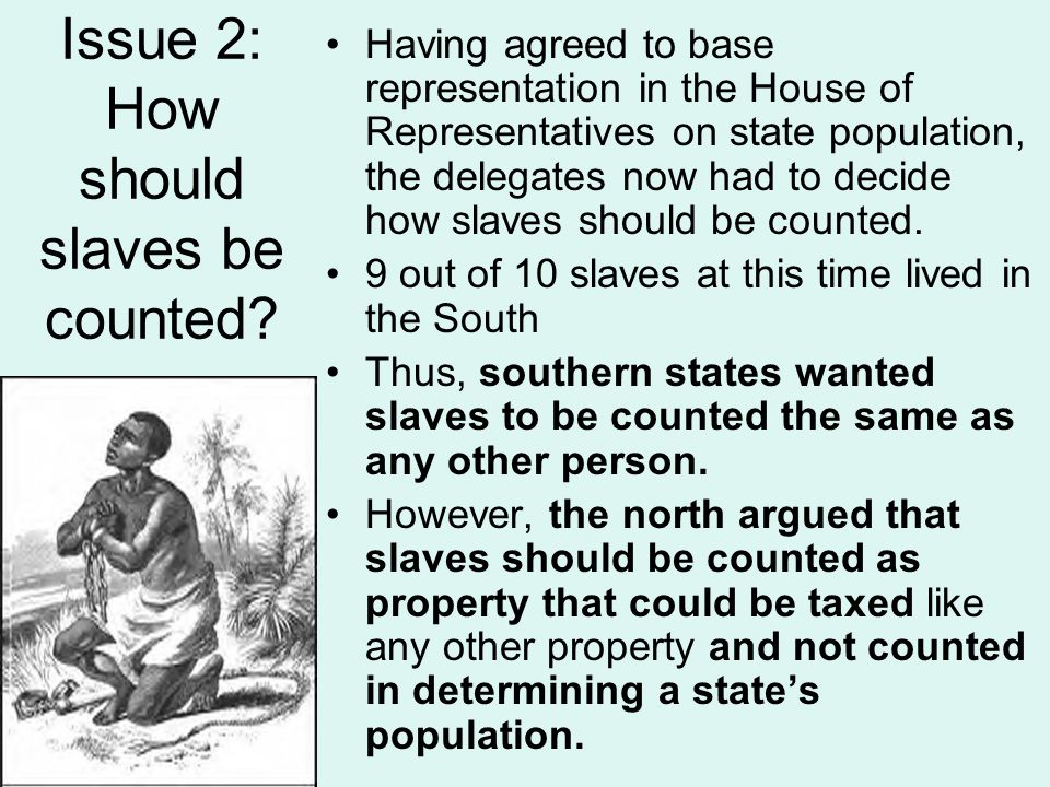 Issue 2: How should slaves be counted? Having agreed to base representation in the House of Representatives on state population, the delegates now had