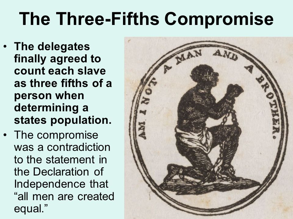 The Three-Fifths Compromise The delegates finally agreed to count each slave as three fifths of a person when determining a states population.