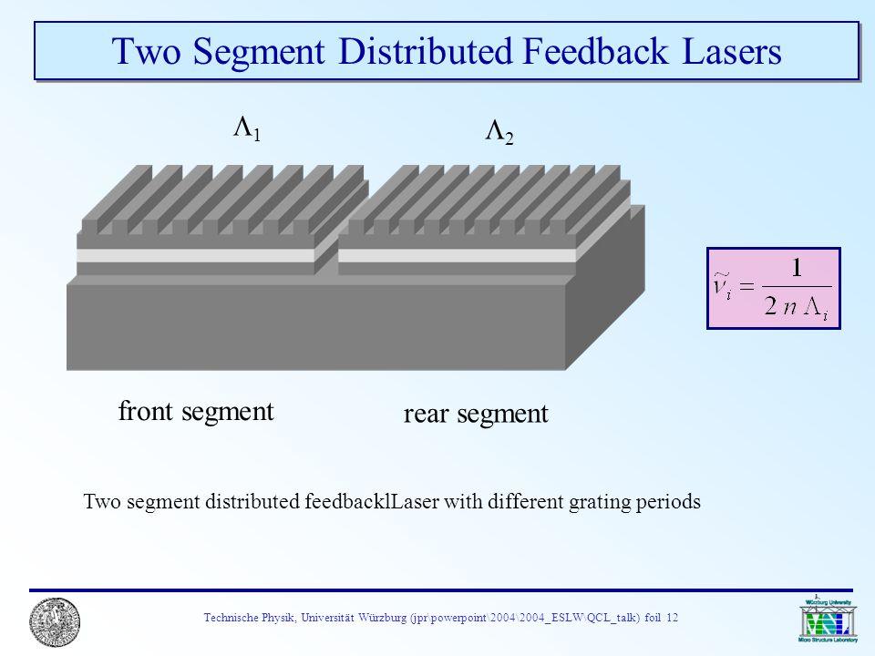 Technische Physik, Universität Würzburg (jpr\powerpoint\2004\2004_ESLW\QCL_talk) foil 12 Two Segment Distributed Feedback Lasers Two segment distribut