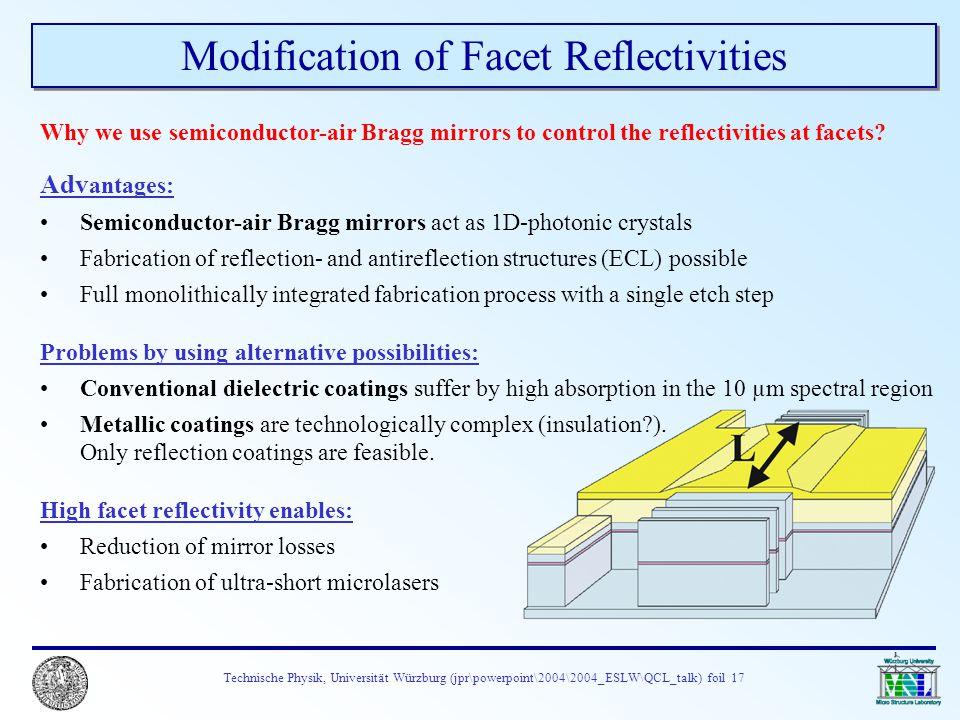 Technische Physik, Universität Würzburg (jpr\powerpoint\2004\2004_ESLW\QCL_talk) foil 17 Modification of Facet Reflectivities Why we use semiconductor