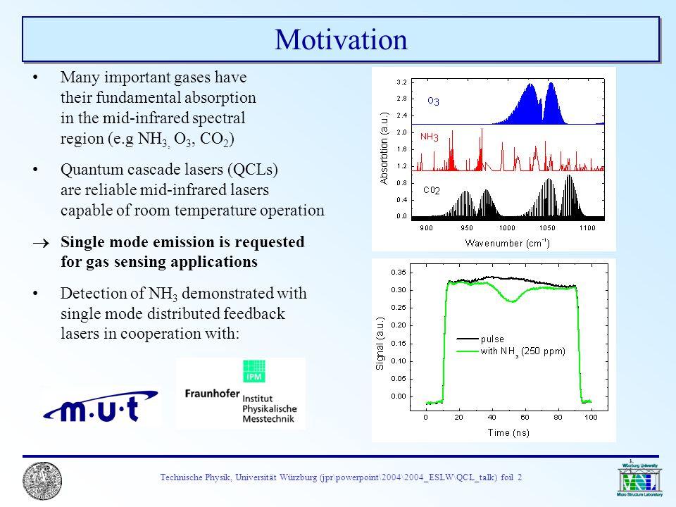 Technische Physik, Universität Würzburg (jpr\powerpoint\2004\2004_ESLW\QCL_talk) foil 2 Motivation Many important gases have their fundamental absorpt