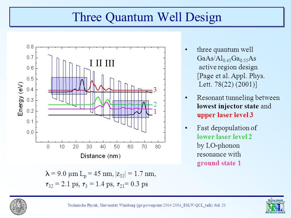 Technische Physik, Universität Würzburg (jpr\powerpoint\2004\2004_ESLW\QCL_talk) foil 20 Three Quantum Well Design three quantum well GaAs/Al 0.45 Ga