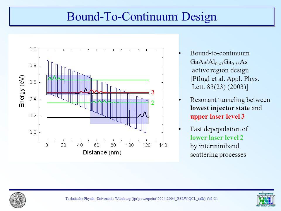 Technische Physik, Universität Würzburg (jpr\powerpoint\2004\2004_ESLW\QCL_talk) foil 21 Bound-To-Continuum Design Bound-to-continuum GaAs/Al 0.45 Ga