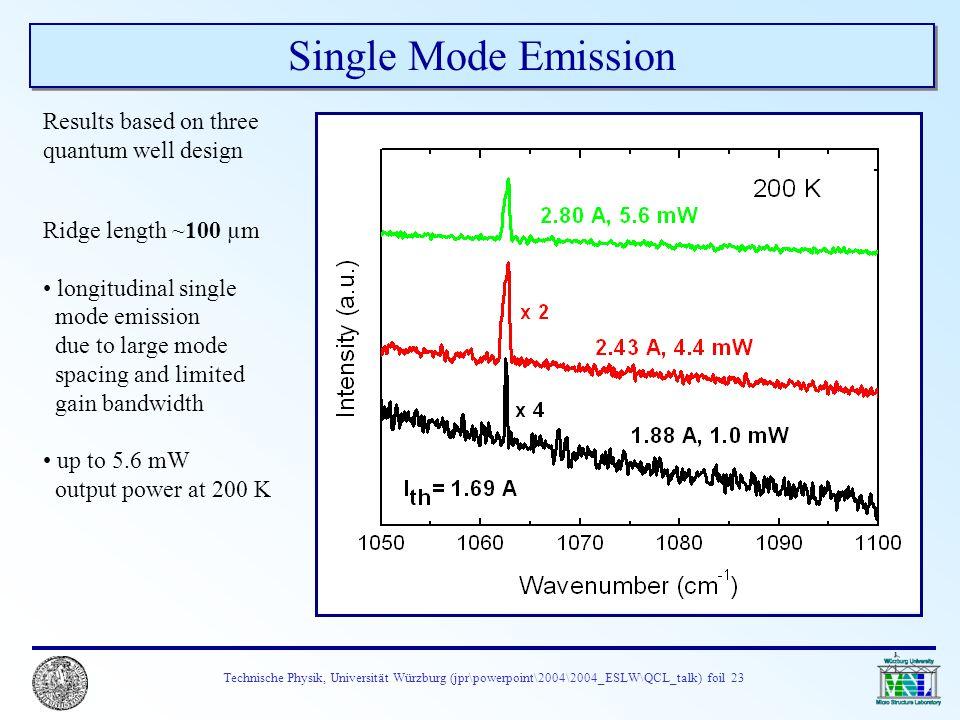 Technische Physik, Universität Würzburg (jpr\powerpoint\2004\2004_ESLW\QCL_talk) foil 23 Single Mode Emission Ridge length ~100 µm longitudinal single