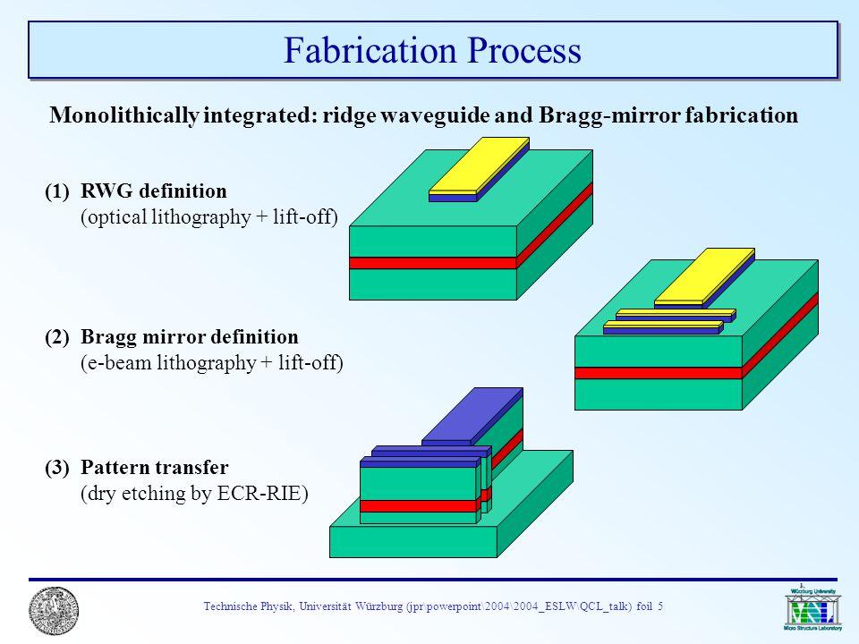 Technische Physik, Universität Würzburg (jpr\powerpoint\2004\2004_ESLW\QCL_talk) foil 5 Fabrication Process Monolithically integrated: ridge waveguide