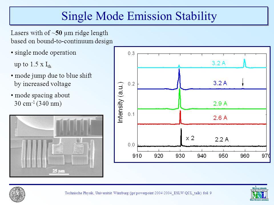 Technische Physik, Universität Würzburg (jpr\powerpoint\2004\2004_ESLW\QCL_talk) foil 9 Single Mode Emission Stability Lasers with of ~50 µm ridge len