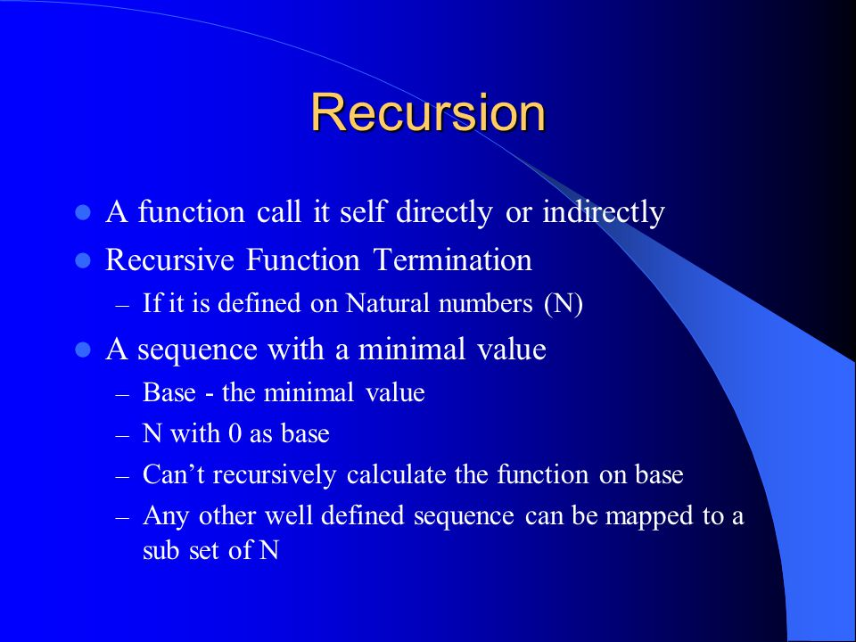 Recursion and Induction Inductive definition of String – String ::= EMPTY – String ::= String + CHAR Recursively counts space characters in a string int numOfSpaceCh(String string) { if(string == null) { return 0; // base } else { int n = numOfSpaceCh(string.substring(1)); // recursion return ((string.charAt(0) == ' ') .