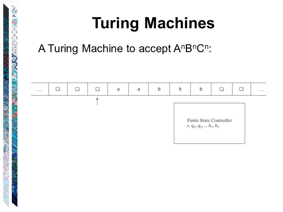 Turing Machines A Turing Machine to accept A n B n C n :