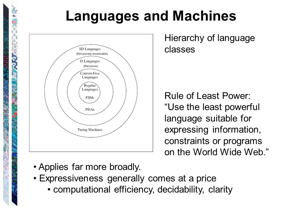 Rule of Least Power: Use the least powerful language suitable for expressing information, constraints or programs on the World Wide Web. Languages and Machines Applies far more broadly.