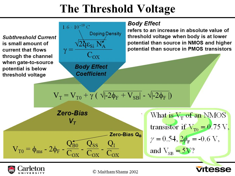 The Threshold Voltage © Maitham Shams 2002 V T = V T0 +  (  |-2  F + V SB | -  |-2  F |) V T0 =  ms - 2  F - Q B0 C OX - Q SS C OX - QIQI Zero-Bias Q B Zero-Bias V T  =  2q  Si N A C OX Body Effect Coefficient Body Effect refers to an increase in absolute value of threshold voltage when body is at lower potential than source in NMOS and higher potential than source in PMOS transistors Doping Density Subthreshold Current is small amount of current that flows through the channel when gate-to-source potential is below threshold voltage