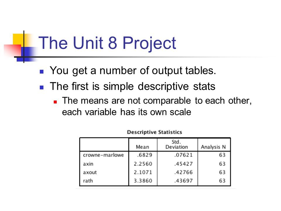 The Unit 8 Project You get a number of output tables.