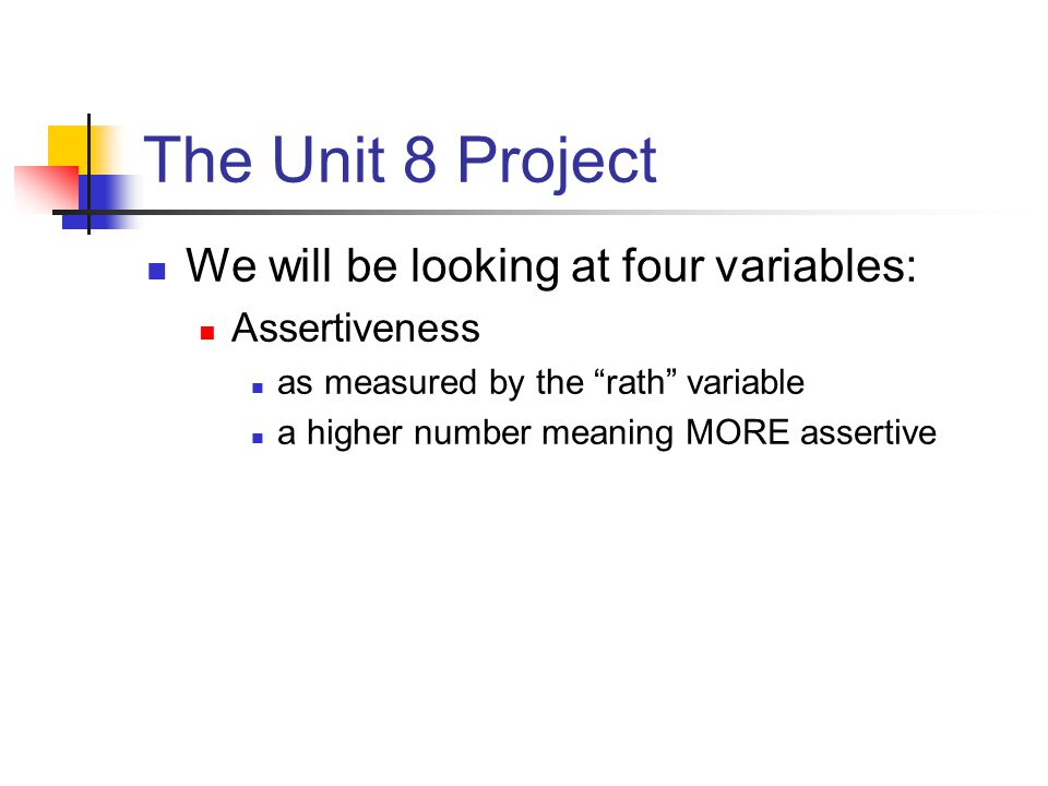 The Unit 8 Project Pay attention to Rath, it is correlated to both of the anger variables