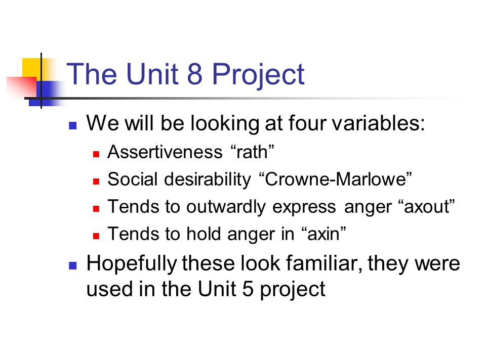 The Unit 8 Project We will be looking at four variables: Assertiveness rath Social desirability Crowne-Marlowe Tends to outwardly express anger axout Tends to hold anger in axin Hopefully these look familiar, they were used in the Unit 5 project