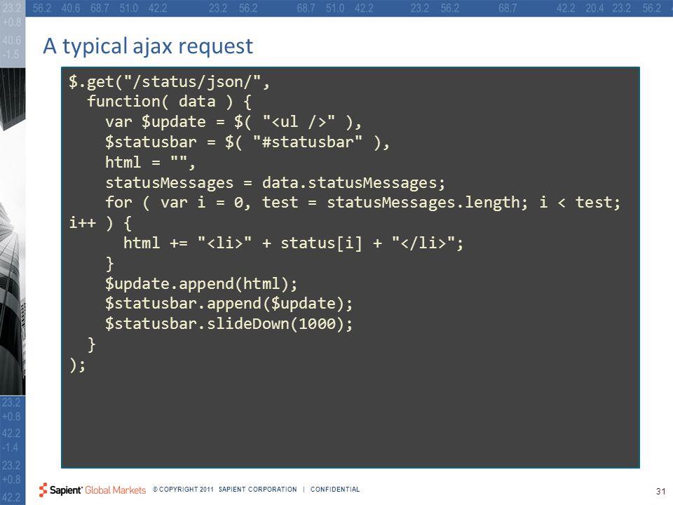 31 © COPYRIGHT 2011 SAPIENT CORPORATION | CONFIDENTIAL A typical ajax request $.get( /status/json/ , function( data ) { var $update = $( ), $statusbar = $( #statusbar ), html = , statusMessages = data.statusMessages; for ( var i = 0, test = statusMessages.length; i < test; i++ ) { html += + status[i] + ; } $update.append(html); $statusbar.append($update); $statusbar.slideDown(1000); } );
