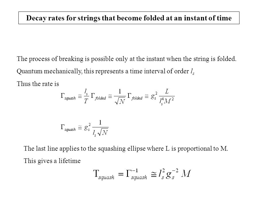 Decay rates for strings that become folded at an instant of time The process of breaking is possible only at the instant when the string is folded.