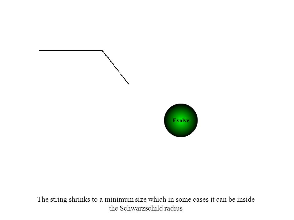 The string shrinks to a minimum size which in some cases it can be inside the Schwarzschild radius