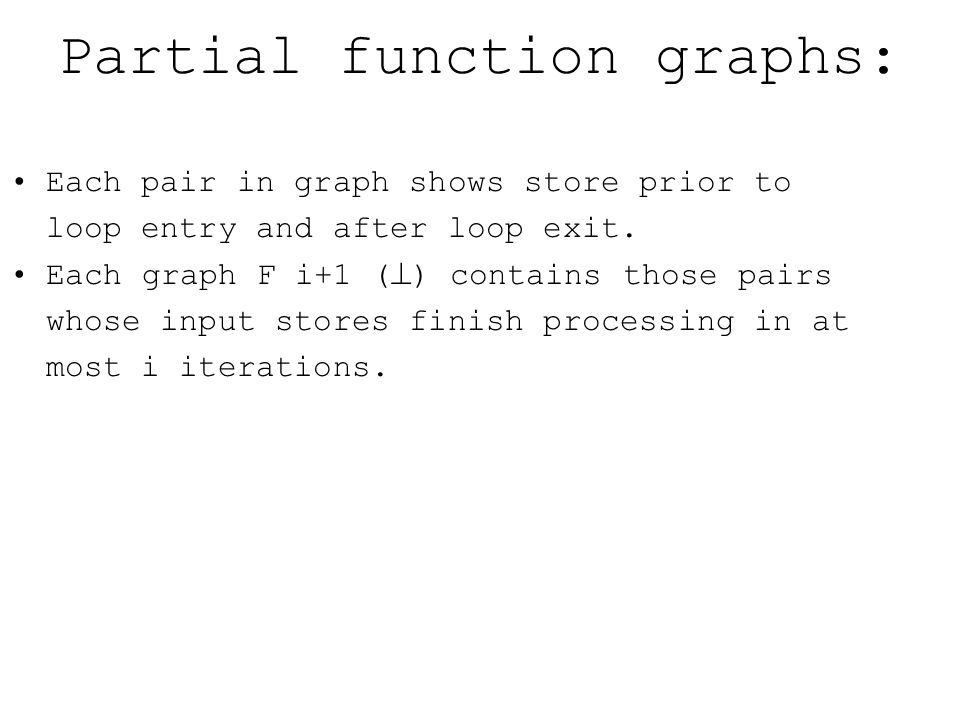 Partial function graphs: Each pair in graph shows store prior to loop entry and after loop exit.