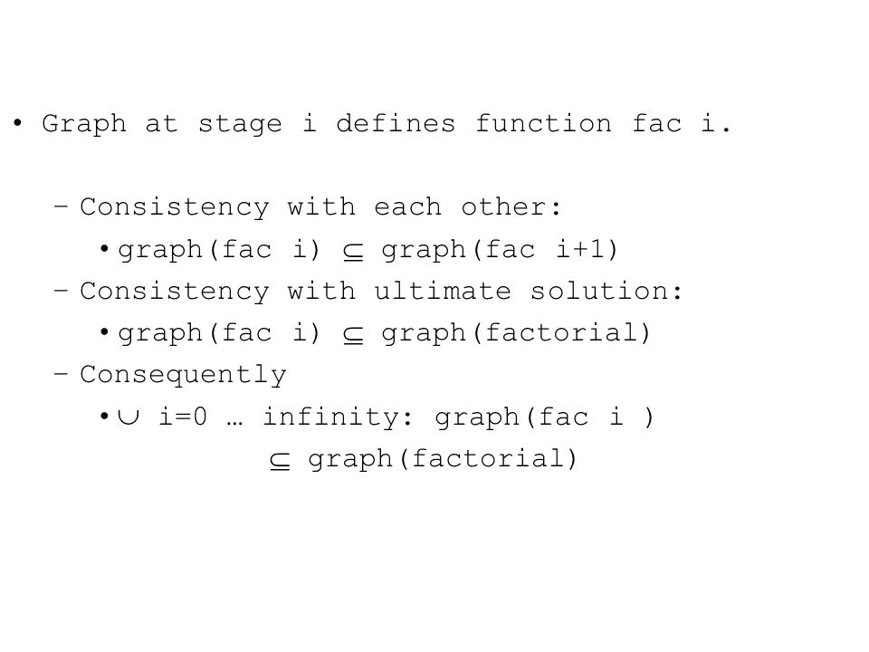 Graph at stage i defines function fac i.
