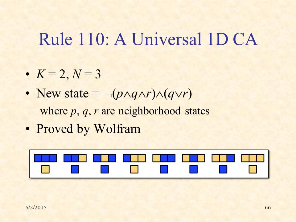 5/2/201566 Rule 110: A Universal 1D CA K = 2, N = 3 New state =  (p  q  r)  (q  r) where p, q, r are neighborhood states Proved by Wolfram
