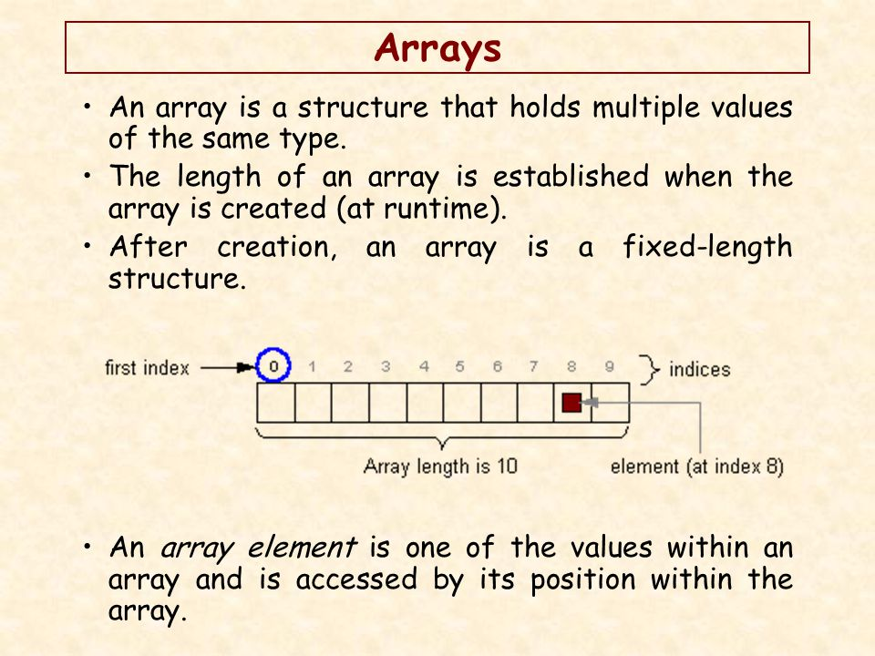 Arrays An array is a structure that holds multiple values of the same type.