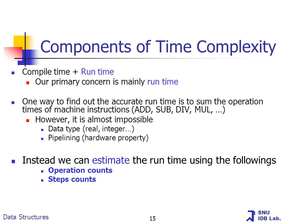 SNU IDB Lab. Data Structures 15 Components of Time Complexity Compile time + Run time Our primary concern is mainly run time One way to find out the a
