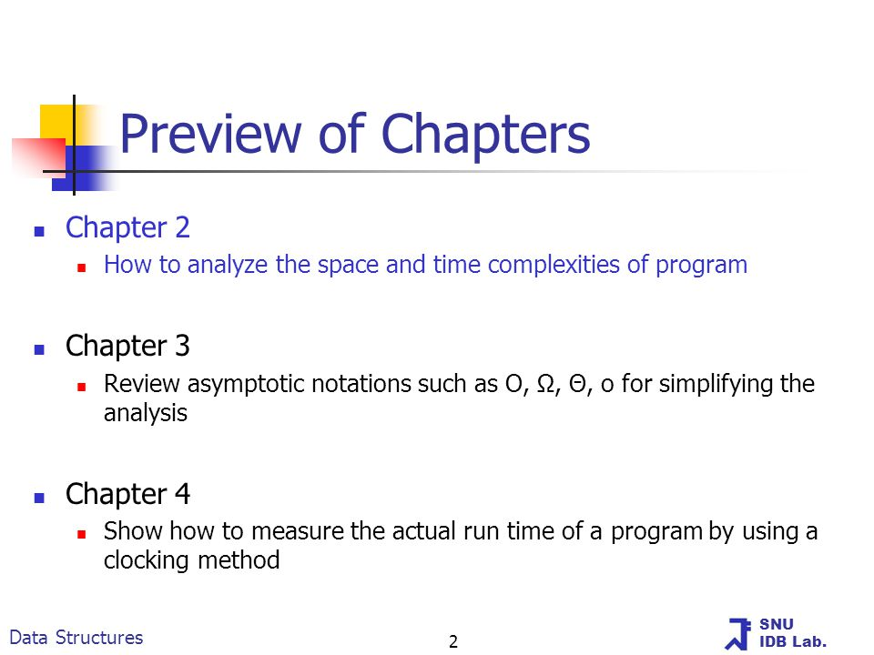 SNU IDB Lab. Data Structures 2 Preview of Chapters Chapter 2 How to analyze the space and time complexities of program Chapter 3 Review asymptotic not