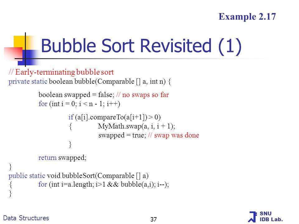 SNU IDB Lab. Data Structures 37 Bubble Sort Revisited (1) // Early-terminating bubble sort private static boolean bubble(Comparable [] a, int n) { boo