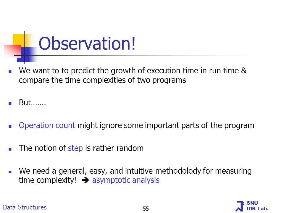 SNU IDB Lab. Data Structures 55 Observation.