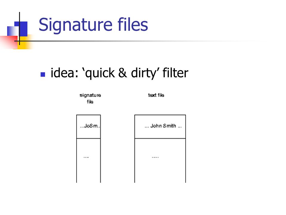 Signature files idea: 'quick & dirty' filter