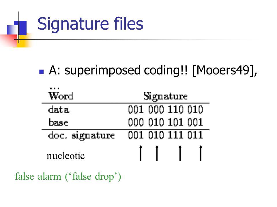 Signature files A: superimposed coding!! [Mooers49],... nucleotic false alarm ('false drop')