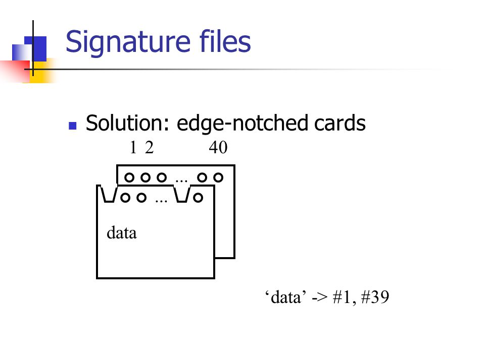 Signature files Solution: edge-notched cards... 1240 data 'data' -> #1, #39