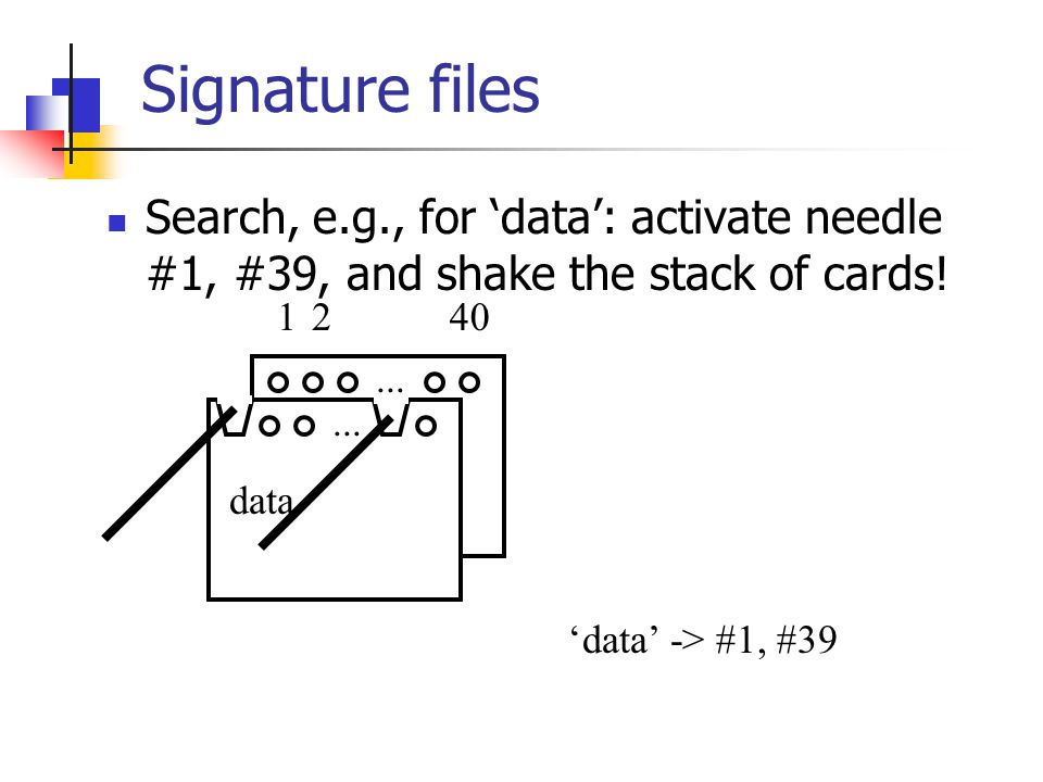 Signature files Search, e.g., for 'data': activate needle #1, #39, and shake the stack of cards!... 1240 data 'data' -> #1, #39