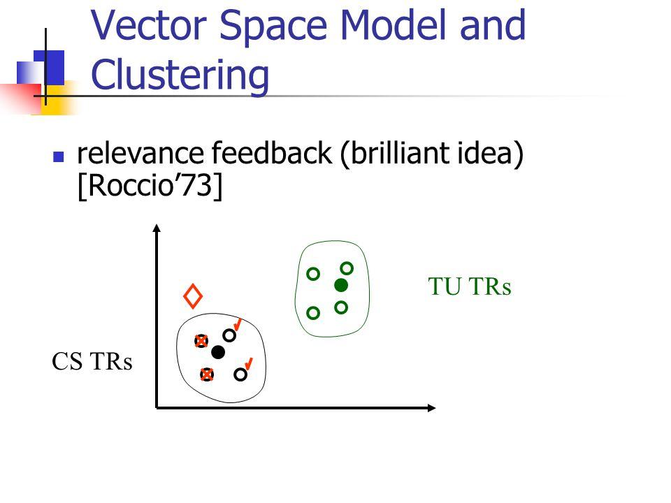 Vector Space Model and Clustering relevance feedback (brilliant idea) [Roccio'73] CS TRs TU TRs
